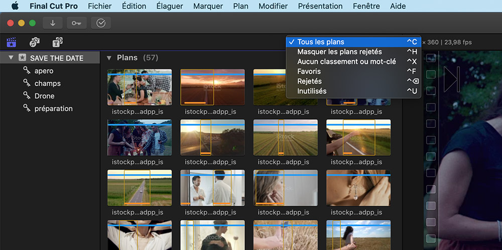 captre d'écran du logiciel Final cut pro X. Dérushage et organisation des plans